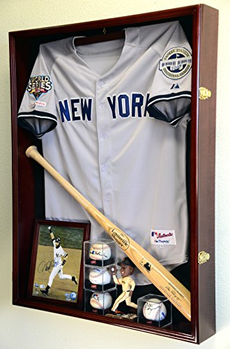 Extra Deep Jacket, Uniform, Jersey Shadow Box Display Case Cabinet w/98% UV Protection, Cherry