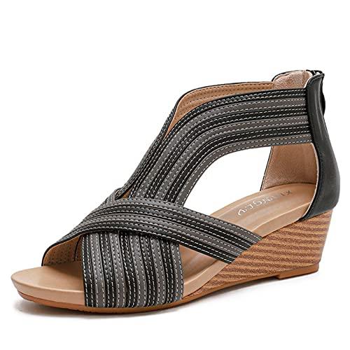 QQWD Zapatos Romanos para Mujer, 2021sandalias Mujer Suave Y Resistente Al Desgaste, Sandalias Verano Mujer Adapta A La Mayoría De Los Pies,36
