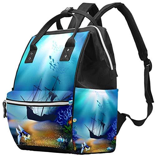 Magic Underwater World Nappy Changing Bag Diaper Sac à dos avec poches isolées, sangles de poussette, grande capacité multifonctionnel élégant sac à couches pour maman papa en plein air