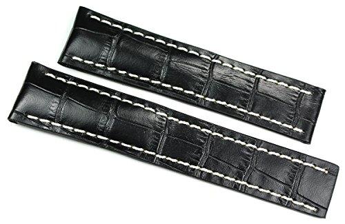 RIOS 1931 Herren Leder Uhrenarmband 22mm Krokoprägung schwarz für Breitling Faltschließe