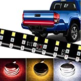 CoCsmart LED Tailgate Light Bar Triple Row, 60 Inch Tail Light Bar for Pickup Trailer SUV RV VAN,Sequential Red Brake White Reverse Amber Turn Signal Strobe Light,No Drill Install