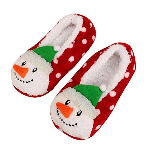 SHOBDW Frauen-Damen-Freie Größe Baumwolle warme Hausschuhe weiche Plüsch-Weihnachtsschuhe (Freie Größe (35-40), D)