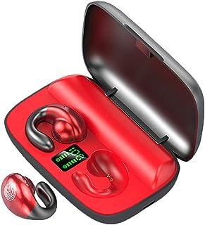 H HILABEE Trådlösa Bluetooth 5.0-hörlurar hörlurar in-ear knoppar brusreducering - röd LED