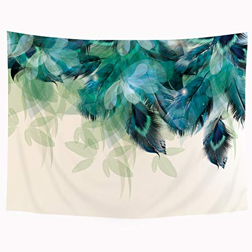 Riyidecor Peacock Feather Tapestry Watercolor Floral Green Leaf Teal Blue Turquois Vibrant Psychedelic 51X59 Inch Wall Hanging Decoration Bedroom Living Room Dorm Wall Chinese Style