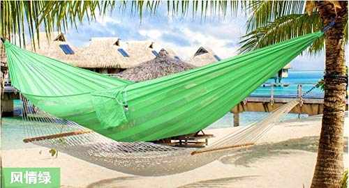 N/A Outdoor hammock TW High Strength Soft Meshed Nylon Hammock Outdoor Camping Hanging Bed With Family Garden Party Beach Use (Color : Green)