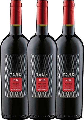 VINELLO 3er Weinpaket Primitivo - TANK No 32 Primitivo Appassimento 2020 - Cantine Minini mit Weinausgießer   halbtrockener Rotwein   italienischer Wein aus Apulien   3 x 0,75 Liter