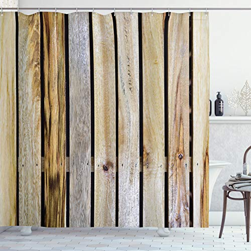 """Ambesonne Rustic Shower Curtain, Vintage Timber Fence of Country Rough Rural House Cabin Village Mother Earth Nature Print, Cloth Fabric Bathroom Decor Set with Hooks, 84"""" Long Extra, Brown Grey"""