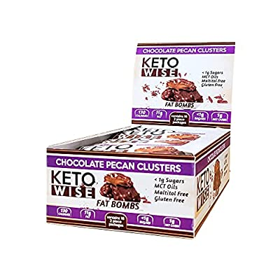 Keto Wise Fat Bombs - Chocolate Pecan Clusters - 16 packs 32g each