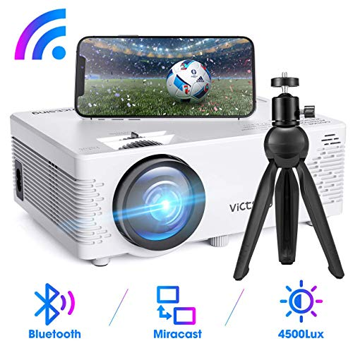 Mini Beamer, VicTsing WiFi Beamer Full HD mit Bluetooth, Native 720P 4500 Lumen, Support 1080P Handy Projektor, kompatibel mit iPhone / Android / iPad / Mac / Laptop / PC