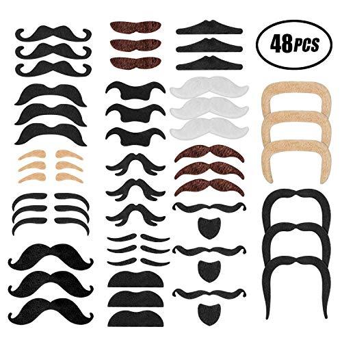 Schnurrbart selbstklebend falsche Bärte zum Ankleben Schnauzer fake Klebe-Bart Oberlippenbart Mustache 48 Stück