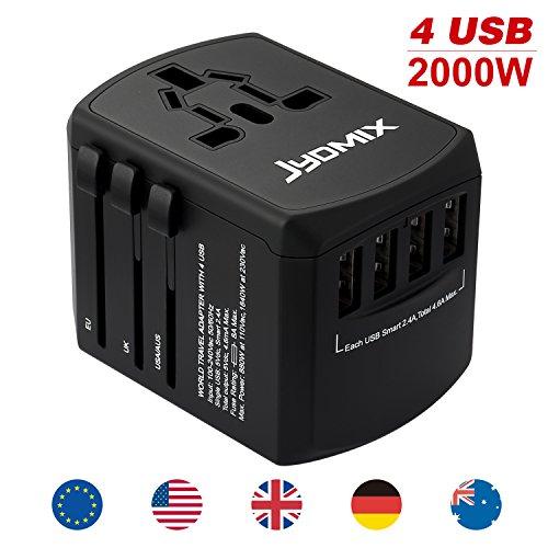All-in-One Universal USB Reiseadapter mit 4 USB-Ports International Ladegerät Weltweit AC-in Ladestecker 8 Pin AC Steckdose für Multinationale Reisen in UK, EU, AU, Asien Über 160 Ländern (Schwarz)