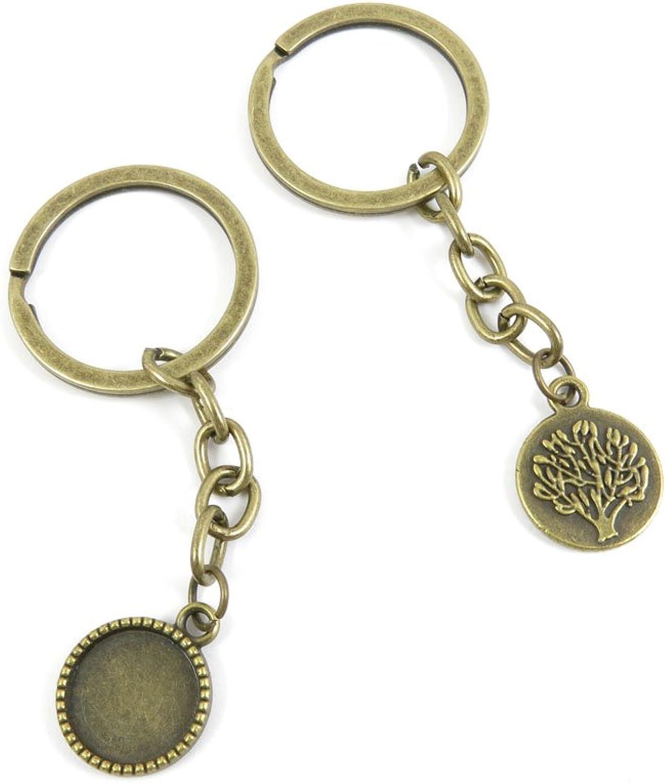 240 Pieces Fashion Jewelry Keyring Keychain Door Car Key Tag Ring Chain Supplier Supply Wholesale Bulk Lots X2GR3 Oak Cabochon Frame Blanks 14MM