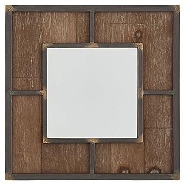 Stone & Beam Square Wood Quadrant Mirror, 15  H, Dark Wood Finish