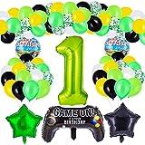 Herefun Decoraciones Para Fiestas de Videojuegos, 37 Pcs Artículos de Fiestas para Fanáticos de Videojuegos, Cumpleaños de Tema Videojuegos Globos, Videojuegos Decoraciones de Cumpleaños para Niños