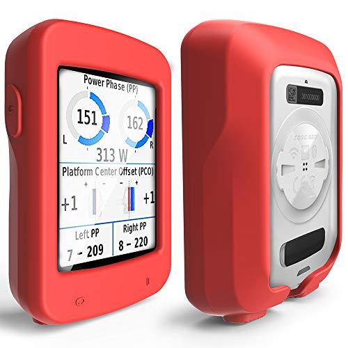 TUSITA Cas pour Garmin Edge Explore 820 - Housse de Protection en Silicone Peau - Ordinateur de vélo Accessoires GPS (Rouge)