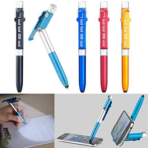 PEARL Stift mit Lampe: 4in1-Kugelschreiber mit LED-Lampe, Touchpen und Handy-Ständer, 5er-Set (Stift mit Licht)