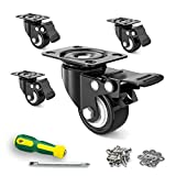 """2"""" Caster Wheels,Set of 4,Heavy Duty Swivel Casters with Brake, Safety Dual Locking and No Noise Polyurethane (PU) Wheels,Swivel Plate Castors(20 Screws & 20 Washers&1 Screwdriver for Free)"""