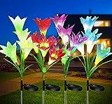 Solarleuchte Garten für Außen - 4 Stück Solarlampen Wasserdichte Lichter mit Farbwechsel - LED Solar Gartenleuchte Deko mit 16 Kopf Lilien Blumen für Garten,Terrasse Hof Party Weihnachts Weg Backyard