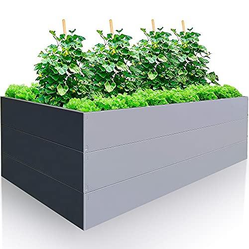 GARTENDEK Hochbeet aus verzinktem Metall für Garten 200x100x63 cm sehr Stabil - Premiumqualität Stahl, Anthrazit - Grau, Rechteckig. Blumenhochbeet Gartenbeet für Kräuter und Gemüse, Langlebig