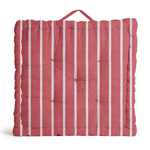 Encasa Homes Floor Cushion Large Square (24 x 24 x 4 inch) for Casual Seating & Pranayama Meditation Yoga - Roma Red Stripes - Padded Decorative Fiber Filled Scatter Pillow for Indoor & Outdoor