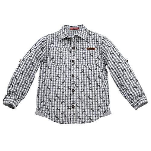 Kinder-Trachtenhemd Alloverdruck aus Baumwolle Gr. 140 I Schönes Jungen-Hemd in Grau-Weiß I Langärmliges Hemd für Jungen, kariert I Kinderhemd aus Webware