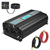 GIANDEL - Conversor de 12 V 220 V puro Sinus 1500 W Onda sinusoidal Pure Transformador con pantalla LCD, mando a distancia con indicador de nivel de batería y 2 puertos USB GIANDEL