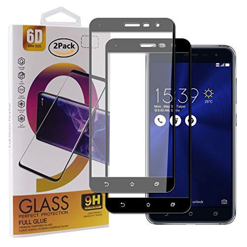Guran [2 Stück Gehärtetes Glas Displayschutzfolie für Asus Zenfone 3 ZE552KL (5.5zoll) Smartphone Full Coverage HD Schutzfolie Film Kompatibel Panzerglasfolie - Schwarz