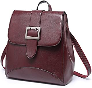 Leather New Ladies Backpack Oil Wax Leather Multi-Function Fashion Handbags Wild Single Shoulder Diagonal Backpack Waterproof (Color : Purple, Size : M)