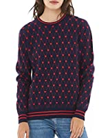 QUALFORT Women's Crewneck Sweater Pullover Soft Knitted Sweaters Leopard Heart Small