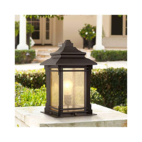 Hickory Point Asian Outdoor Light Fixture Bronze 16.5' Textured Glass for Exterior House Porch Patio - Franklin Iron Works