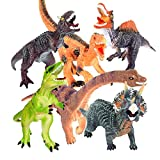 "6PCs Large Dinosaur Set Figure Toys Xmas Christmas Gifts 13-15"" Realistic Looking Dinosaur Toy Set for Kids and Toddler Education, Including T-rex, Stegosaurus, Monoclonius, etc"