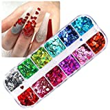 CHANGAR Nail Art Glitter Sequins, 3D Laser Love Heart Nail Decals Sticker Holographic Nail Sparkle Glitter for Manicure Make Up DIY Decals Decoration …