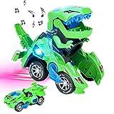 CestMall Coche de Dinosaurio Transformador con luz LED Música, Juguetes de Dinosaurio Coche con batería Rueda Universal Flexible Dinosaurio LED Coche para niños Juguetes para Regalos de cumpleaños