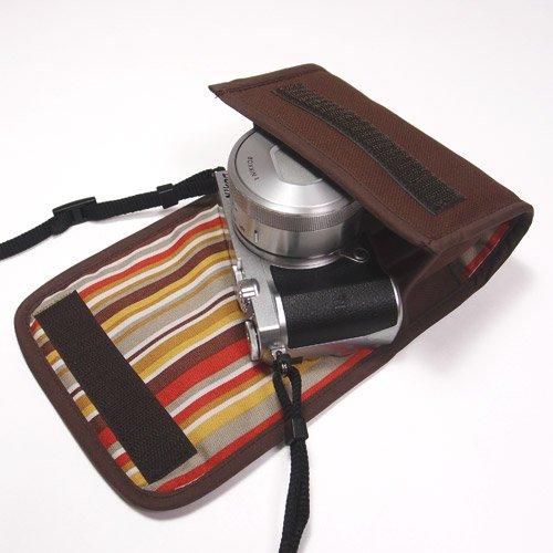 suono(スオーノ) Nikon1 J5ケース−標準パワーズームレンズ用(ココア)--カラビナ付--ハンドメイド