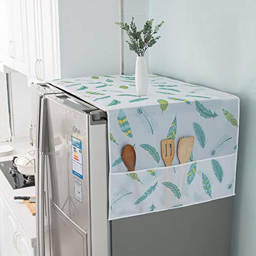 """1PCS PEVA Refrigerator Dust-Proof Cover Washing Machine Waterproof Cover with Storage Pockets Bags Fridge Dust Cover Oven Cover Multi-Purpose Top Covers 24.4"""" x 70.8"""" (Fresh green leaf pattern)"""