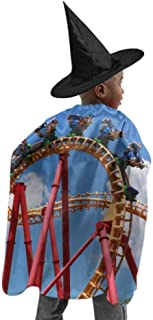 A Thrilling Game Roller Coaster Women Cape Cloak Unisex Hooded Cloak Witch Cloak and Hat Dress Up for Halloween Birthday Party