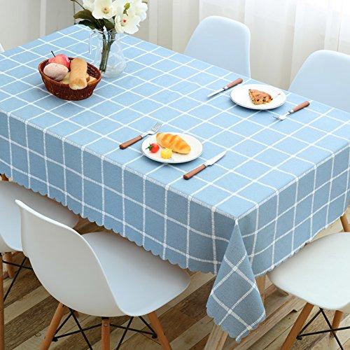 HM&DX PVC Wasserdicht Tischdecken Ölfreie Schmutzabweisend Checker Dekorationen Abdeckung-beschützer-Tuch für esszimmer Tisch Beistelltische-blau 90x135cm(35x53inch)