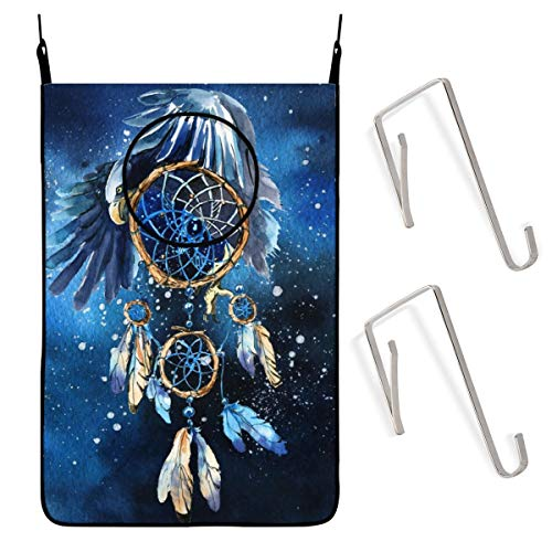 ACHOGI Watercolor Dream Catcher with Eagle Hanging Laundry Hamper Bag with Free Adjustable Stainless Steel Door 2 Pcs Suction Cup Hooks, Best Choice for Holding Dirty Clothes and Saving Space