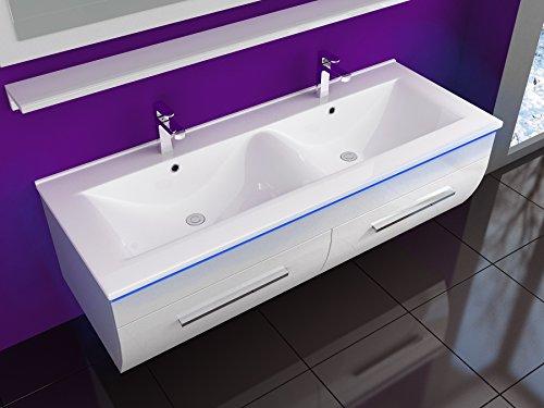 Badmöbel Doppelwaschbecken Set Weiß Bild 4*