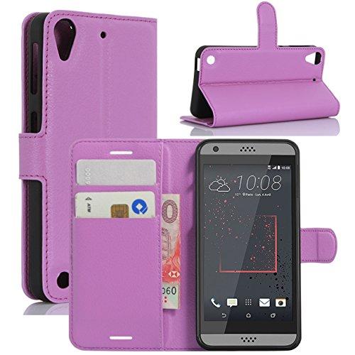 HualuBro HTC Desire 530 Hülle, Premium PU Leder Leather Wallet HandyHülle Tasche Schutzhülle Flip Hülle Cover für HTC Desire 530 Smartphone (Violett)