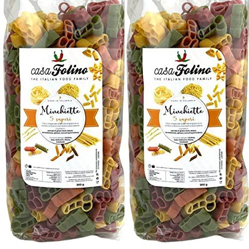 Box Pasta Minchiette 2 Confezioni da 500 g- CasaFolino - Con Coloranti naturali e vegetali (Barbabietola, Spinaci, Curcuma) Ideale per piatti estrosi - Addio al Nubilato - Made in Italy
