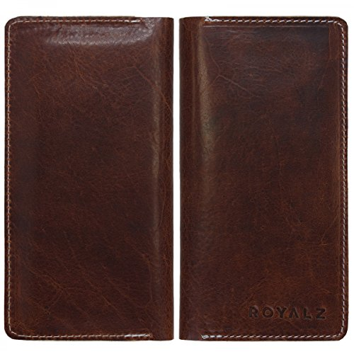 ROYALZ Leder Tasche Geldbörse Brieftasche Schutz Hülle Cover Sleeve Universal (4.6-5.1 Zoll) Kara Braun