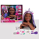 Barbie Deluxe 20-Piece Glitter and Go Styling Head, Black Hair, by Just Play