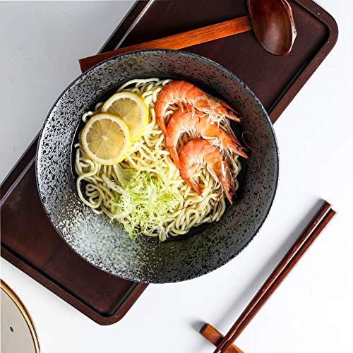 Ceramic Japanese Ramen Noodle Soup Bowl, 2 Sets (6 Piece) 60 Ounce, with Matching Spoon and Chopsticks for Udon Soba Pho Asian Noodles, Large