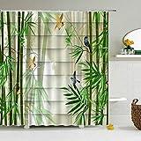 BLZQA Spatz Bambus Duschvorhang, Grün Antischimmel Duschvorhänge Textil Wasserdicht Shower Curtains Badewanne Waschbar mit 12 Haken, 180 x 180 cm