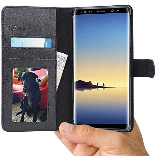Note8 Hülle, Tasche für Samsung Note 8 [Kabelloses Aufladen Unterstützung] Brieftasche RFID Ledertasche mit Ständer. Fächern für Karten Bargeld, Klapphülle Galaxy Note 8 Schutzhülle - Schwarz