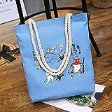 ZoraQ Exorcismo femenino Canvas Shoulder Bag Simple File Shopping Handbag (azul)