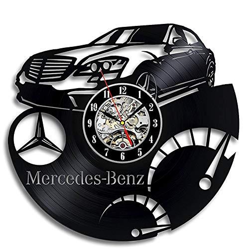 AZUOYI Vinyl Record Wandklok Mercedes Benz 3D Ontwerp Woonkamer Decoratie Vinyl Lp Record Klokken Wandhorloge Home Decor 12 Inch (Zonder batterij)