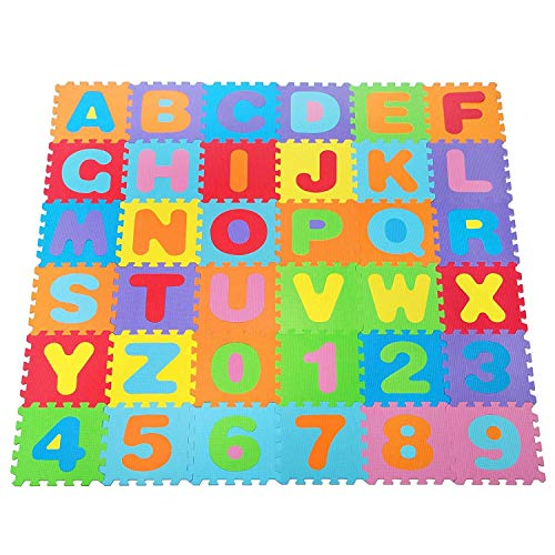 Suelo para niños puzle 31,5x31,5x1cms de goma Eva Letras,números