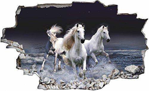DesFoli Pferd Horse 3D Look Wandtattoo 70 x 115 cm Wanddurchbruch Wandbild Sticker Aufkleber C478